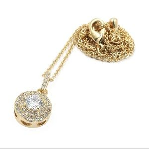Gold shining crystal hollow necklace